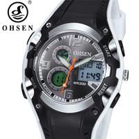 Original Ohsen AD1309 Brand Fashion Digital Sport Watch Wristwatch Childrens Boys 30M Waterproof Rubber White Watches For Kids