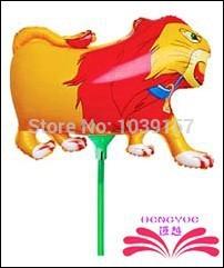 Grátis frete folha leão balão animais forma balão de alumínio dentro de vara dos desenhos animados espera balão(China (Mainland))