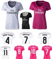 new 14-15 Real Madrid home women soccer football jersey KROOS Ronaldo 2015 top Thai quality JAMES woman soccer uniforms jerseys