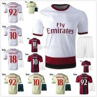 hot 14/15 AC Milan away white soccer football jersey KITS, EL SHAARAWY HONDA best quality 2015 soccer uniforms jerseys