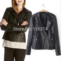 2014 Sale Fashion Black Leather Women Jacket Coat Cheap Locomotive Suit Autumn Jackets Coats With Pockets MYK044