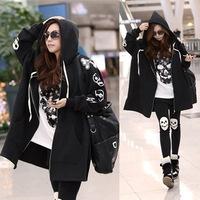 2014 new European American style fashion women fall winter loose plus size long skull hooded cardigan zip sweatshirt hoodies