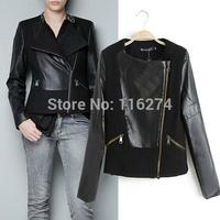 Black Women Ladies Leather Jacket Coat Locomotive Suit  Motorcycle Autumn Spliced Jackets Coats MYK049