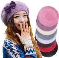 Hot Sales!! New 2014 Women Winter Warm Big Bow Wool Rabbit Fur Hats Fashion Beret Hats ( 8 colors)
