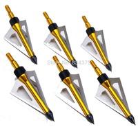free shiping 6pcs crossbow arrow broadhead 125 grain 2'' cut diameter 3 solid blades arrow head tip