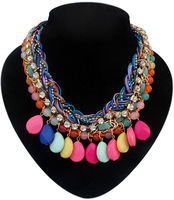 Wholesale and retail Bohemia woven water drop pendant necklace collar jewelry for women