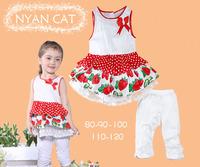 Promotion 5sets Children girl's 2014summer Sleeveless strawberry dress+white pant girl 2-piece/set 16990