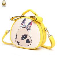Handbag brand color block leather cute cartoon dog printed small woman bags fashion 2014 designers mini crossbody bags for women
