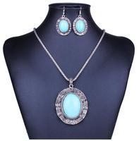 2014 Nepal national style geometric  circle turquoise mental necklace set wholesale
