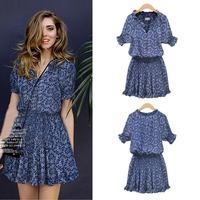 2014 Hot Sell Fashion Sexy All Around Of Flower Print Half Sleeve V-neck Slim Dress