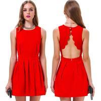 2014 Hot Sell Fashion Sexy Red Sleeveless O-neck Slim Dress