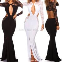 New Celebrity Bandage Long Sleeve Lace Cut  Dresses Summer  2014 Sexy  Women's Evening Slip Floor Length Maxi Dress
