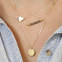 TX239 Fashion Trendy 3 layers Triangle And Rounded Necklace Alloy Necklace Fashion Necklace Women Jewelry(China (Mainland))