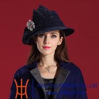 Free Shipping 2014 New Arrival Women Dress Hats Woolen Hat Church Hats Elegant Deep Navy Blue Woman Hats