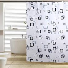 Preto banheiro branco cortina de chuveiro banho tecido à prova d ' água(China (Mainland))