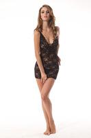 Hot sales Sexy Women Lady Lingerie Lace Mini Dress Underwear Babydoll Sleepwear+G-String Set Black  0S 209