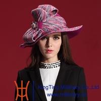 Autumn and Winter Women Hats 2014 Luxurious Dress Wool Felt Hat Natural 100% Wool with Elegant Big Bow Felt Hat