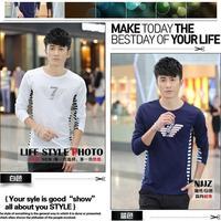 2015 Men New T Shirt High Quality Cotton Fabric Slim Style Printing Long Sleeve Fashion Men's Tee Casual Tee New Design T-shirt