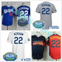 cheap stitched 2014 LA dodgers Los Angeles Dodgers#22 Clayton Kershaw white /grey /all star men's baseball jersey/baseball shirt