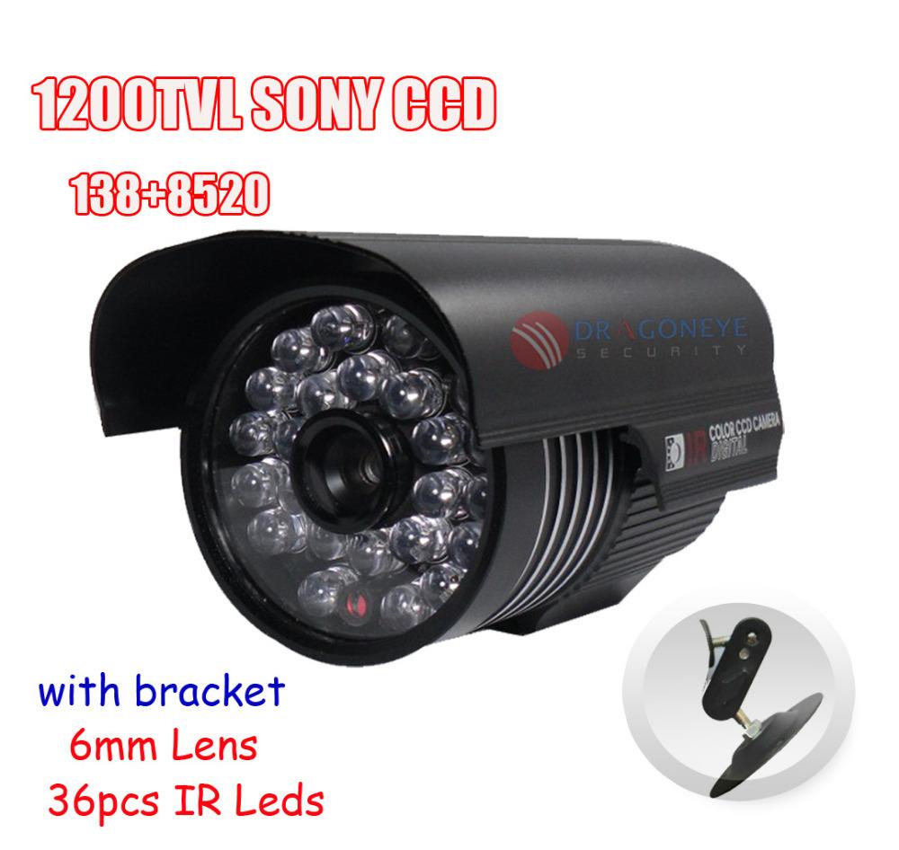 1200TVL Sony CCTV Camera Original SONY CCD 138+8520 Outdoor Camera With Bracket 6mm Lens, 36pcs IR Leds Security Bullet Camera(China (Mainland))