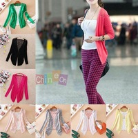 New 2014 Fashion Spring Sunflower Lace Backside Panel Cardigan Womens Long Sleeve knitwear Tops