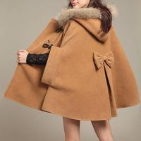 2014 Korean winter new women's wool coat cloak coat is fur collar wool coat cloak and shawl