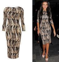 New 2015 autumn and winter dress leopard print sexy hip slim half sleeve one-piece dress Bodycon Stretch Party Club dress