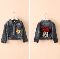 New arrival 2014 minnie girls cartoon coat kids clothing girl spring/autumn denim coats 5pcs/lot