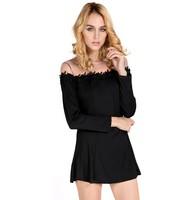 EBay burst sexy transparent gauze splicing Black Lace mini Europe long sleeved dresses