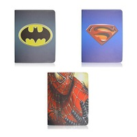 Hot 3D Cartoon Superman Spider man Batman Flip Stand Leather Smart Case Cover For iPad mini 1/2 or iPad 2 3 4 or iPad air 5th