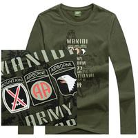 Army military T shirt CS U.S tactical T-shirt New Men's Round Neck T-Shirts Tee Shirts Slim Fit Tops Long Sleeve T Shirt