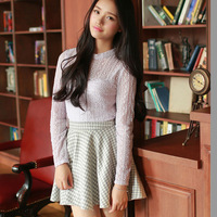 Winter Skirts 2015 Autumn Outfit Side Zipper Bust Skirt Of Tall Waist Cultivate One's Morality Flared Pleated Skirt W43059