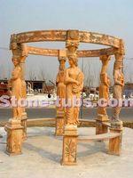 pink stone columns for pergola stone garden figures carving statue arbour summerhouse