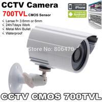 Free shipping CMOS 700TVL CCTV Camera Mini Bullet Waterproof 24 hours Monitoring Outdoor/Indoor Use
