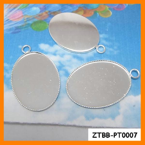 Free Shipping 18*25MM Silver Plated Oval Pendant trays,jewelry mountings settings pendants, pendant bezel,total three size,40pcs(China (Mainland))