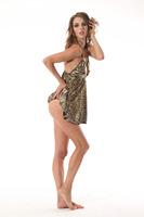 Sexy Women Lady Lingerie Print color light Leopard Mini Dress Underwear Babydoll  Underwear+G-String Set 0S 214