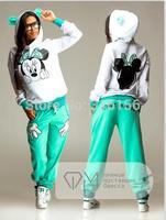 H1-v15 2014 New Autumn New Women Fashion Cartoon Mouse PrintedSweatshirts Set,Cute Girls Hoodies Cardigans,Tracksuits,Sport Suit