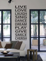 Hot LIVE LOVE LAUGH Wall Art Quotes Wall Art Sticker Decal DIY Home Decoration Wall Mural Removable Bedroom Sticker 160x55cm