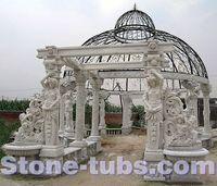 stone sculpture outdoor pergola garden gazebo with dome and porch bench