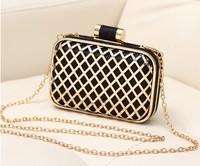 Desigual 2014 classic women plaid matel hollow evening bag party cluch bag gold chain shoudler handbag brand p ys y bag