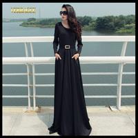 Come With Belt 2014 Autumn New Women's Slim Solid Plus Size Long Maxi Dress Elegant Black Casual Floor Length Dress S-XXL P23
