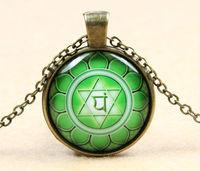 Green Heart Chakra Anahata Dirk Czarnota Glass Cabochon Indian Pendants Necklaces Handmade Glass Dome Jewelry Free Shipping