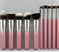 professional 10pcs pink/silver foundation blush liquid brush kabuki makeup brush tools pink colour CZ019