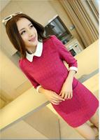 2014 new arrived peter pan collar women slim fashion dress cotton dress for Autumn Red Orange Darklbue S M L XL
