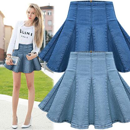 Ladies Stylish & Fashion Wash Jeans Short Saia Womens Fashion High Waist A-Line Denim Mini Denim Skater Skirt Free Shipping R11(China (Mainland))