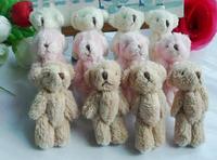 10PCS Kawaii Fluffy Standing 6CM Mini Joint Teddy Bear DOLL ; Plush Stuffed TOY DOLL ; Wedding Gift & Bouquet Decor TOY DOLL