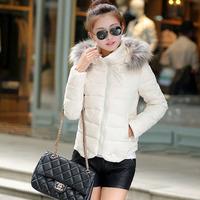 2014 new winter fur collar jacket lady big Korean genuine short paragraph self-cultivation big yards cotton