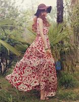 2014 Vintage Summer Bohemian Print Dress Women Floral Sleeveless Chiffon Long Beach Dresses Red Navy Blue