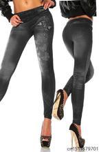 New Women Sexy Tattoo Jean Look Legging Sport Leggins Punk Fitness American Apparel Jeans Woman Pants