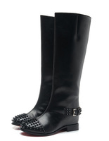 2014 Hot autumn / winter woman genuine leather rivet boots red bottom knee high boots brand botas
